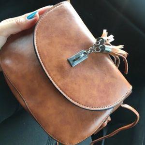 Handbags - Brown Vegan Leather Crossbody Saddle Bag
